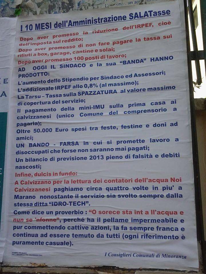 """Calvizzano, giunta senza vicesindaco da cinque mesi. Nuovo manifesto dell'opposizione. """"I dieci mesi dell'amministrazione Sala-tasse"""""""