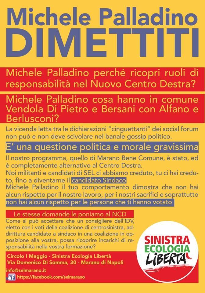 """""""Michele Palladino, dimettiti"""". Un manifesto di Sel sul caso dell'ex candidato sindaco del centrosinistra"""
