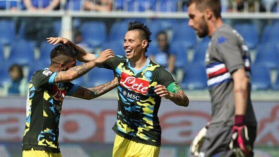 Il Napoli piazza la cinquina e batte la Samp. E' il trionfo di Insigne e Zapata, è il ritorno al gol di Hamsik