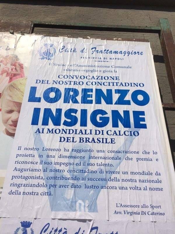 """Frattamaggiore omaggia Insigne con un manifesto: """"Grazie per aver dato lustro alla nostra città"""""""
