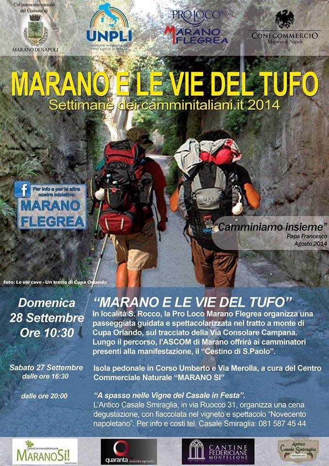 """""""Marano e le vie del tufo"""", il 28 settembre la nuova iniziativa promossa dalla Pro loco Marano Flegrea. Il 27 l'isola pedonale"""