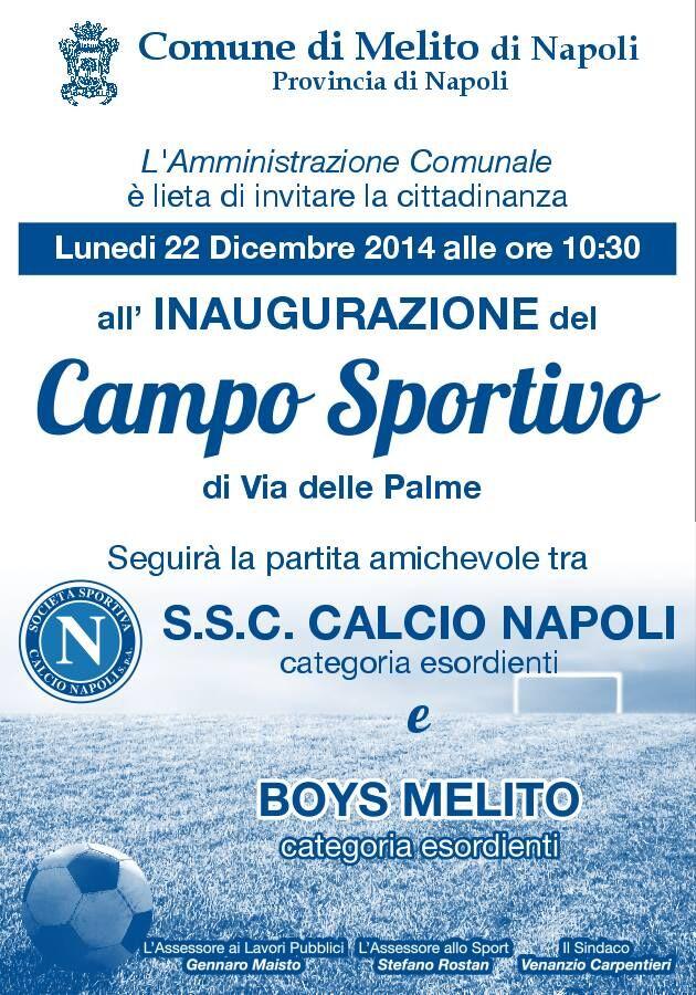 L'Inaugurazione del Campo Sportivo di Melito con la partita tra Napoli e Boys Melito, nelle categorie Esordienti
