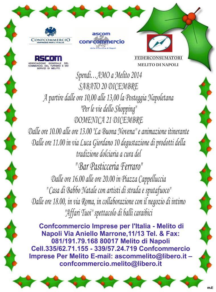 Partono questo weekend i primi eventi natalizi organizzati dalla Confcommercio Melito