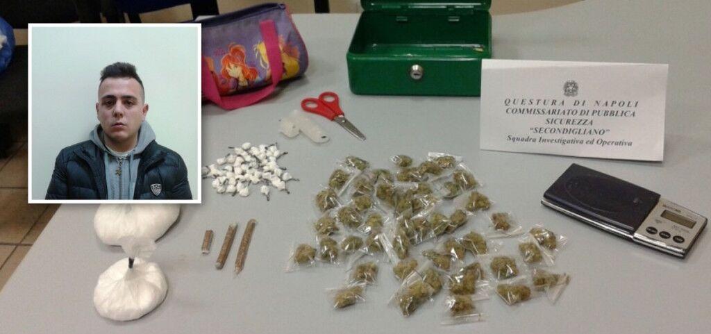 Nascondeva nel suo armadio cocaina, marijuana e hashish: preso pusher 21enne