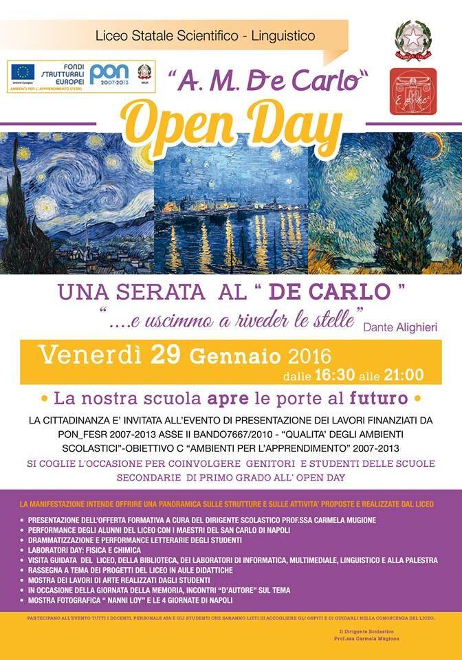 Venerdì open day al liceo De Carlo