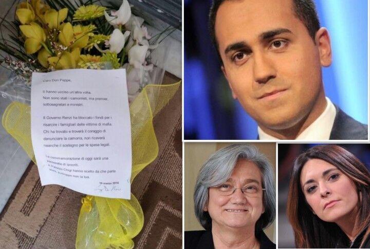 """Fiori e lettera sulla tomba di Don Diana, Di Maio: """"Caro don Peppe, ti hanno ucciso un'altra volta"""""""
