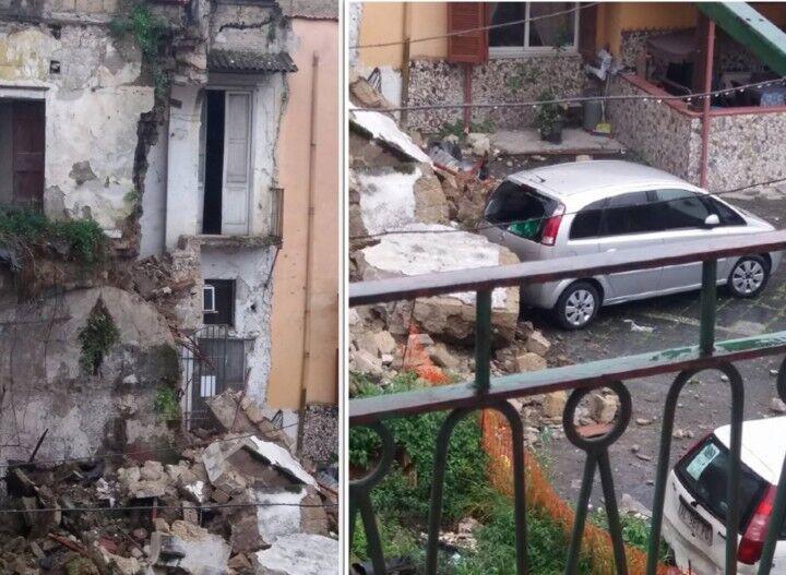 Melito, crolla un palazzo in Vico Rossi: attimi di paura in centro