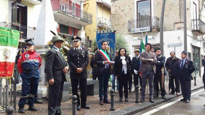 """Marano. 25 aprile, deposta una corona al Monumento ai Caduti. Il sindaco: """"Non perdiamo la speranza di un futuro migliore"""""""