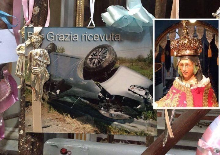 """Giugliano, la """"grazia"""" della Madonna: il figlio fa l'incidente con l'auto ma si salva"""