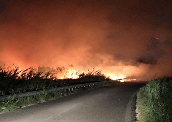 Maxi rogo sul Lago Patria, in fiamme anche rifiuti