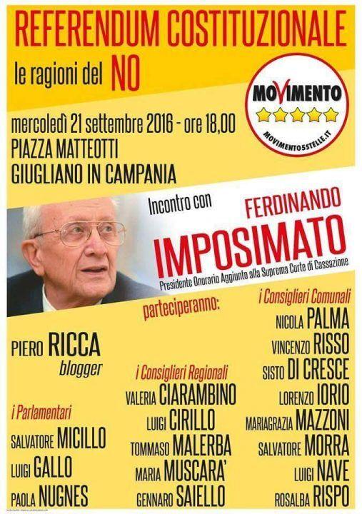 M5S. Referendum riforme: per le ragioni del NO arriva a Giugliano il giudice Ferdinando Imposimato