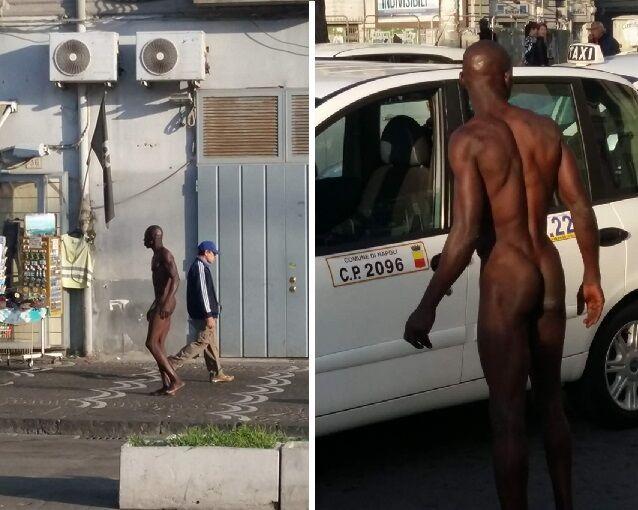 Choc a Napoli, uomo completamente nudo in strada