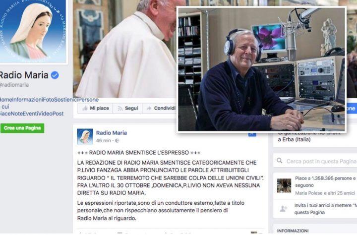 """Radio Maria smentisce: """"Mai detto che il terremoto è colpa delle Unioni Civili"""""""