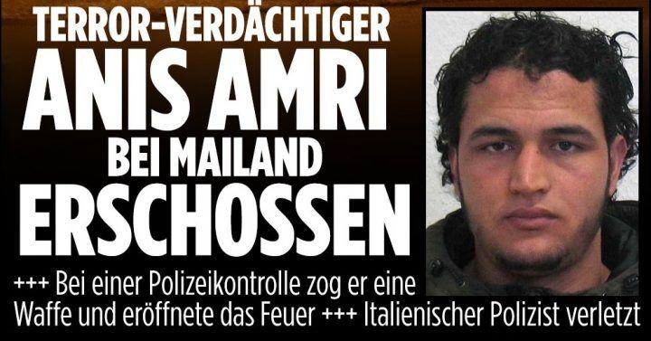"""Anis Amri ucciso: Bild, stampa tedesca e estera titolano: """"E' finita"""""""