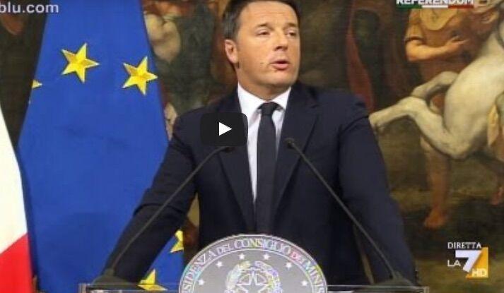 """Video discorso Renzi sulle dimissioni: """"Grazie a tutti, comunque"""". VIDEO"""