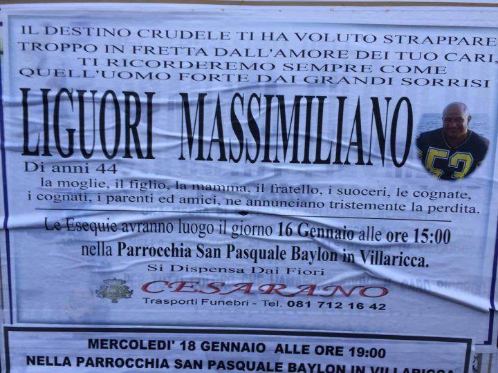 Villaricca dà l'ultimo saluto a Massimiliano Liguori