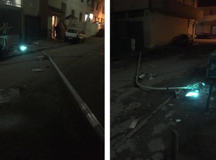 Paura tra Giugliano e Villaricca, crolla un palo della pubblica illuminazione