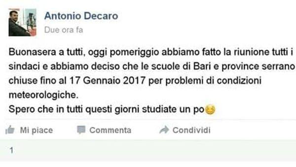 """Antonio Decaro: """"Scuole chiuse a Bari fino al 17 gennaio"""". Ecco la verità"""