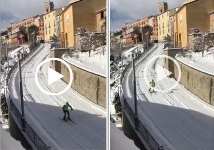 Campania, neve e ghiaccio trasformano la strada in una pista di sci