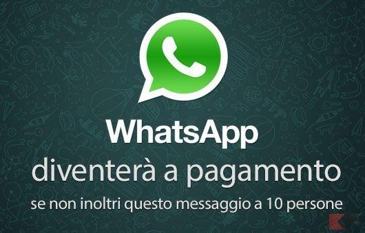 Whatsapp a pagamento dal 6 gennaio 2017: è una bufala