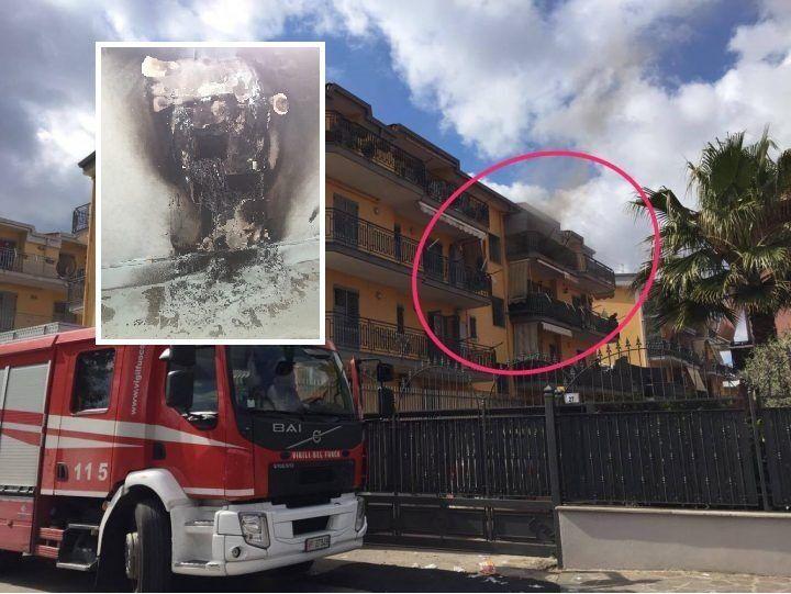 Villaricca, incendio in un palazzo. Persone intrappolate in casa