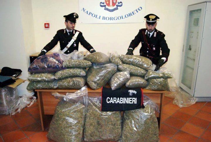 Napoli, sequestrati dai Carabinieri 55 chili di marijuana nascosti in un ripostiglio