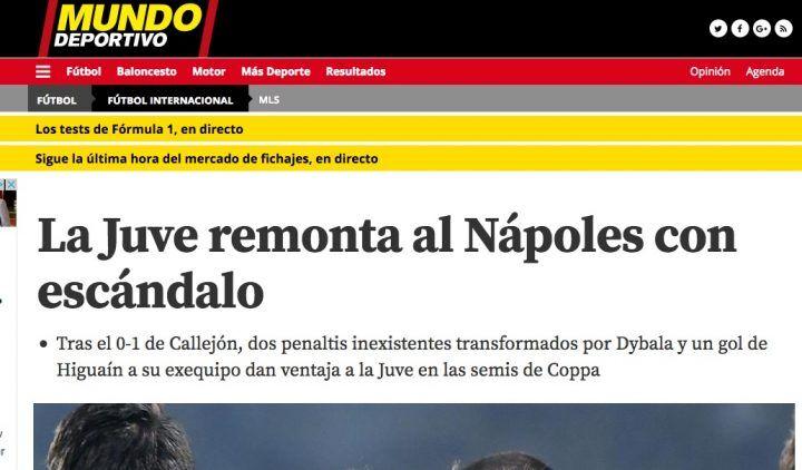 """Mundo Deportivo con il Napoli: """"La Juventus rimonta in modo scandaloso"""""""