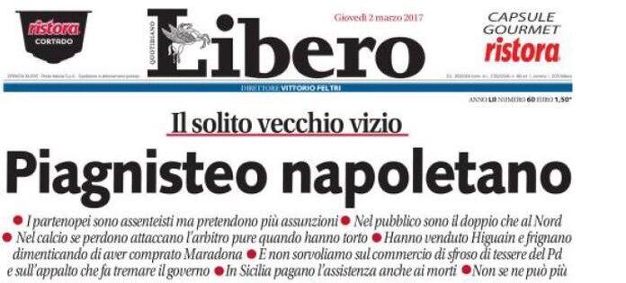 """Libero e Tuttosport attaccano Napoli in prima pagina: """"Che piagnisteo"""""""