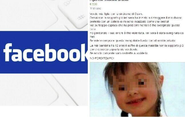 """""""Vendo mia figlia down"""", il post choc nel mercatino Facebook di Arzano"""