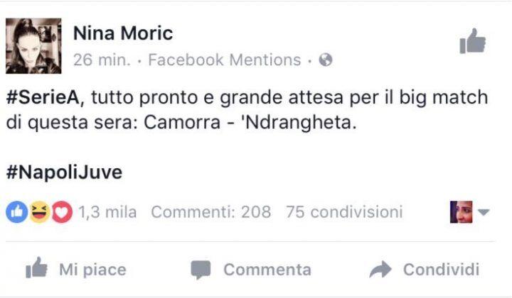 Nuovo post provocatorio di Nina Moric su Napoli