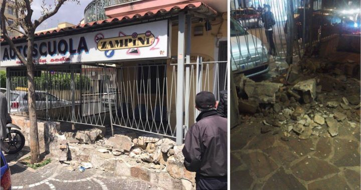 Giugliano, grave incidente in via Aniello Palumbo: sfondato muro dell'autoscuola Zampini