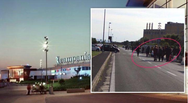 Centro commerciale Campania, scatta l'allarme anti-incendio clienti in fuga