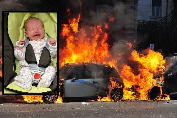 Terrore ad Aversa, esplode auto con neonato e bimbi all'interno