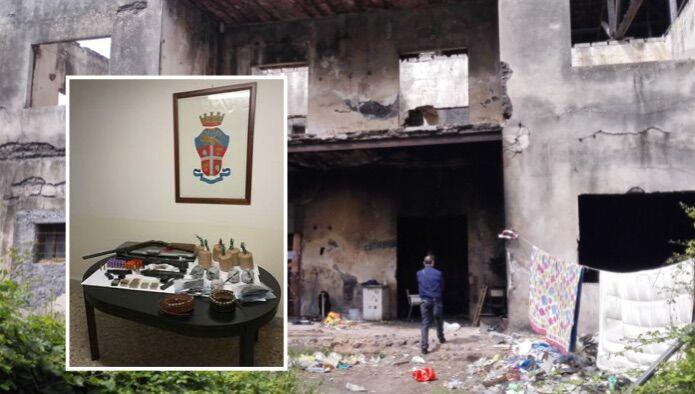 Via Domitiana, armi e ordigni nascosti in un fabbricato abbandonato