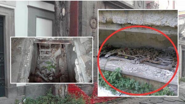 Choc al cimitero di Poggioreale. Ossa ammassate in un loculo lasciato aperto.