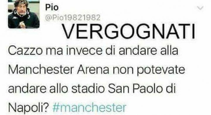"""Attentato a Manchester, il tweet della vergogna: """"Dovevano farlo a Napoli"""""""