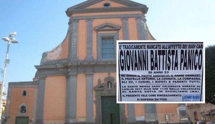 Giugliano, domani l'ultimo saluto a Giovanni Battista Panico