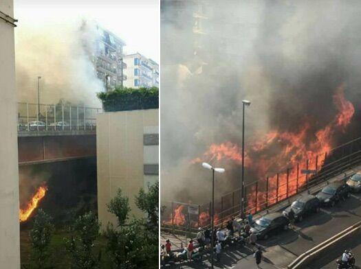 Incendio al Vomero, fiamme e paura in via Caldieri. VIDEO