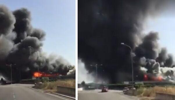 Pastorano, spaventoso incendio ed esplosioni: in fiamme deposito Expert Mallardo