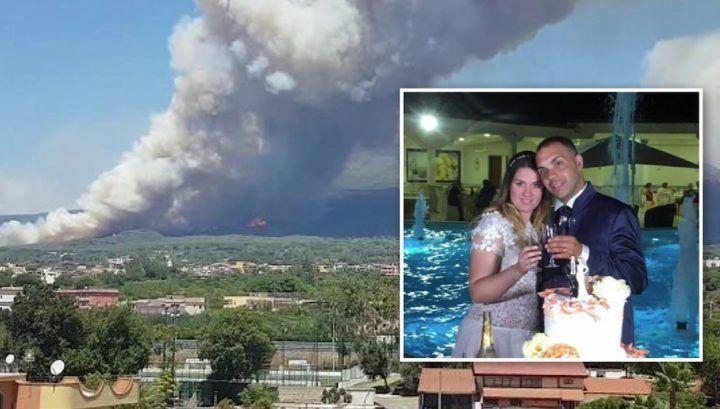 Vesuvio in fiamme, disavventura per coppia di Giugliano nel loro giorno più bello