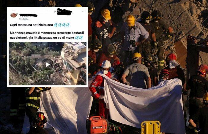 """Tragedia di Torre Annunziata, post della vergogna su facebook: """"L'Italia puzza di meno"""""""