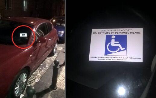 Napoli, passaggio disabili: adesivi contro il parcheggio selvaggio