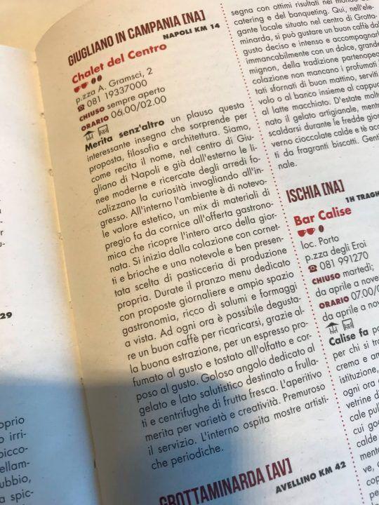 Giugliano, lo Chalet del Centro entra nella guida Gabero Rosso 2018 dei Bar d'Italia