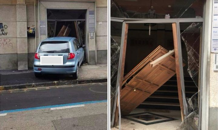 Tragedia sfiorata nel napoletano, sbanda con l'auto e si schianta contro portone di un palazzo