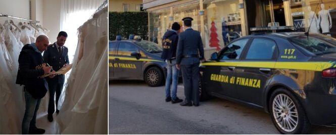 Blitz in un noto atelier di Santa Maria a Vico, sigilli per 700mila euro. Sequestrati anche abiti da sposa
