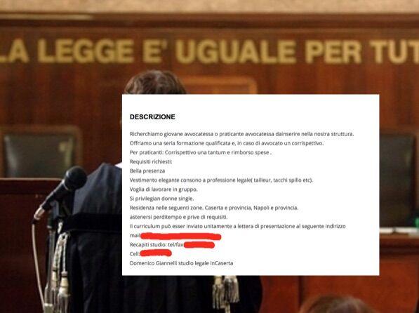"""""""Ricerchiamo giovane avvocatessa single e con tacchi a spillo"""", l'annuncio dello studio di Caserta fa discutere"""