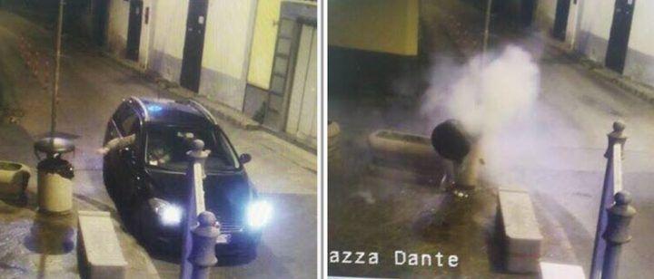 Paura a Mugnano, fanno esplodere cestino in cemento: incastrati dalle telecamere