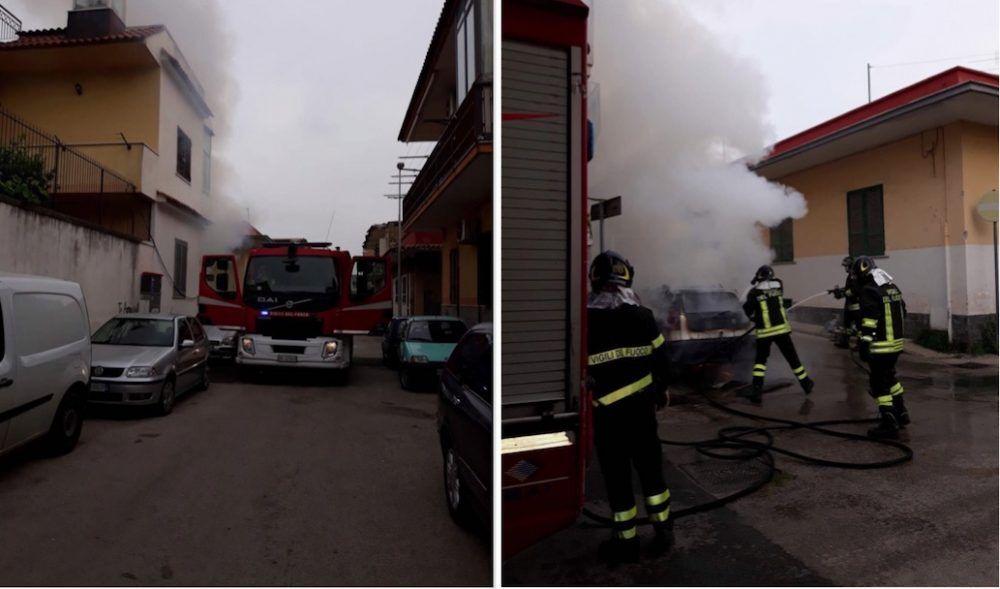 incendio auto mugnano via de gasperi