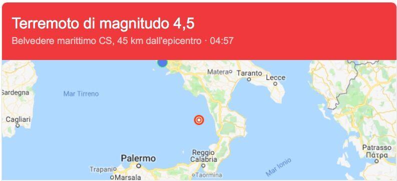 Scossa di terremoto Calabria