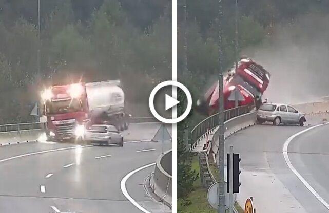 incidente auto cisterna cade cavalcavia